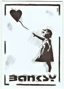 ACEO Art Sketch Card Banksy Girl with Heart Balloon (ink)