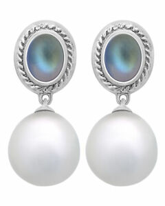 Assael 18k White Gold And South Sea Pearl Earrings E6037 MSRP $6400