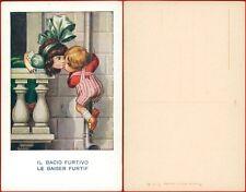Bertiglia cartolina bambini il bacio furtivo