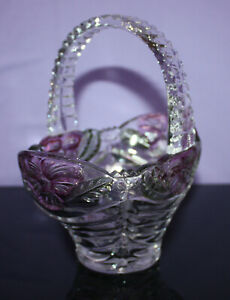 Vintage Mikasa Crystal Handled Basket ~ Clear w Pink Flowers and Green Leaves