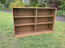 Vintage Teak Veneer Wooden Glass Sliding Door Shelf Display Book Drink Cabinet #