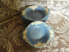 8  Vtg. Blue Pacific Hand Painted White Grapes Pottery Bowls with Handles ~