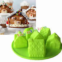 3D House Silicone Cake Mould Baking Christmas Sweet Party Chocolate Soap Mold