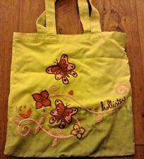 yellow green hollister tote bag  embroidered butterflies tie dye euc