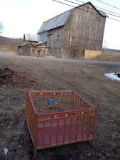 Vtg Baby Folding Playpen Wood For Dolls Display Fisher Price Bluebird Prayer 60s