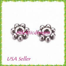 100pc 4mm Antique Silver Metal Tibetan Style Daisy Bead Spacers Findings Earring