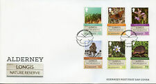 Alderney Guernsey 2016 FDC Longis Nature Reserve 6v Set Cover Birds Flowers