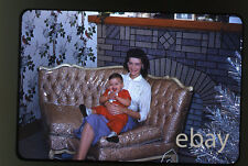 1959 Kodachrome Photo slide Lady with baby Plastic Slip Cover Sofa furniture