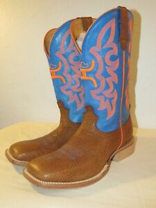 Twisted X Men's Hooey Boots Cowboy Western MHY004 Tan/Orange/Blue Size 8 D US
