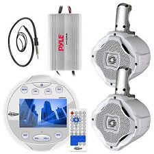 """2Way 6.5"""" Marine Speakers, Amplifier,Lanzar Round Bluetooth AM FM Radio& Antenna"""