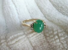 14K SOLID GOLD RING W/ NATURAL GREEN CHRYSOPRASE & Accent DIAMONDS SIZE 6