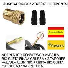 ADAPTADOR-CONVERSOR VALVULA BICICLETA FINA A GRUESA + 2 TAPONES NEGROS ALUMINIO