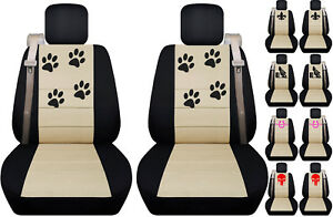 Fits Chevy trailblazer front car seat cover black-beige w/barrel racing/fleur...