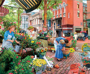 "Sunsout  -  ""Sidewalk Flower Sale""  -  Puzzle 1000 pieces  NEW"