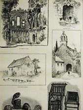 Louis Wain GLASTONBURY MEARE Fish House Alms Holy Well Chapel 1888 Art Matted