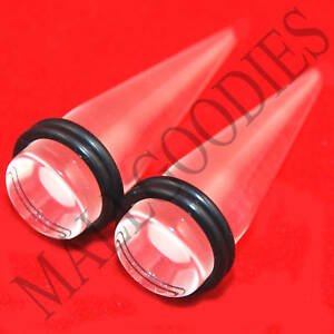 """0629 Acrylic Plain Clear See Through Stretchers Tapers Expanders 1/2"""" 12.7mm"""