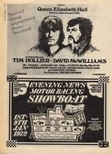 Tim Hollier David McWilliams Peter Sarstedt concert advert Time Out cutting 1972