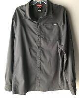 GERRY Men's Woven Shirt Convertible Sleeves Black Micro Plaid Style# 1006061 XL