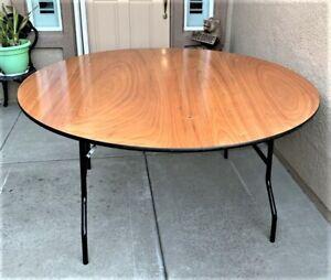 Advantage 5 ft. Round Wood Folding Banquet Table seats 8 adults