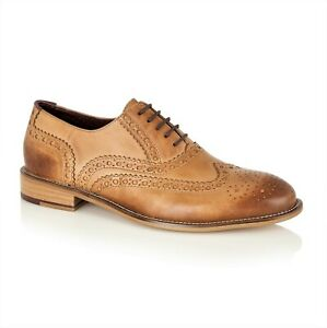 London Brogues Formal Smart Leather Mens Shoes Tan Size 15