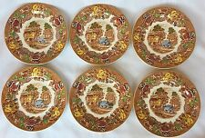 "6 Wood & Sons Enoch Woods Ware England English Scenery 7 3/4"" plates"