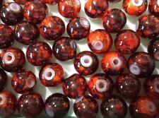 lot 20 perles en verre 8mm effet marbré orange et marron //12
