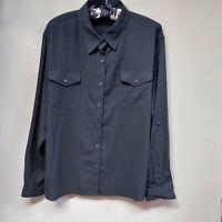 Covington Women's Top Size XL (18) Button Up Roll-Tab Sleeve Shirt Blouse Black