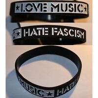 ★ LOVE MUSIC ★ HATE FASCISM Silikon Armband / bracelet Punk Antifa St. Pauli