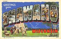 WI Shawano 2B-H60 Native Americans LLL Large Letter Linen Curteich Postcard A77