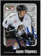 Jayme Filipowicz Signed 2000-01 Milwaukee Admirals Team Card #8