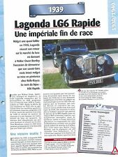 Lagonda LG6 Rapide 1939  Great Britain UK Car Auto FICHE FRANCE