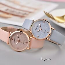 Sparkling Crystal Glitter Women's Wrist Watch Rose Gold Leather Band Ladies Gift