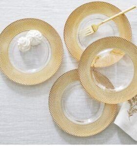Pottery Barn Set 4 Melrose Glass Salad Plates Monique Lhuillier Gold