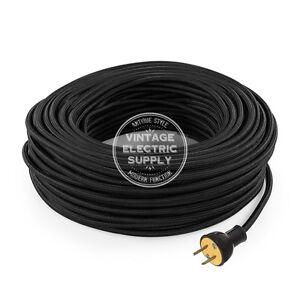 Black Cordset - Cloth Covered Round Rewire Set - Antique Lamp & Fan Cord