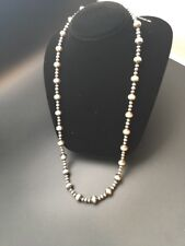 Native American Sterling Silver Navajo Pearls Bead Necklace  26 Inch