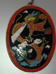 Asian Antique Pendant  Amulet  Charm  Cloisonne  Rare Dragon