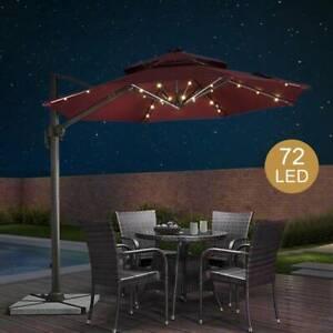 72LED Parasol Umbrella Lights Garden Patio Outdoor Remote Lighting String Light