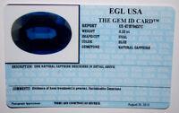 EGL USA CERTIFIED NATURAL SAPPHIRE BLUE OVAL CUT 0.22 CT GENUINE GEMSTONE
