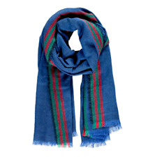 NEW NWT blue multi-color stripe print pattern oversize cozy hipster scarf wrap