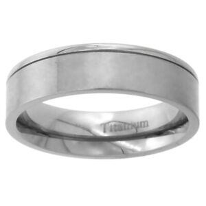 Titanium 6mm Wedding Band Ring Brushed Finish One Polished Flat Grooved Edges