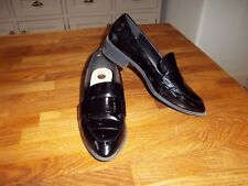 River Island black patent leather loafer style shoes size 7 EU 40