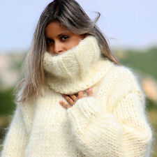 WHITE 10 Strands Hand Knit Mohair Sweater Fuzzy T-neck Pullover by EXTRAVAGANTZA