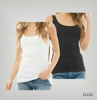 Ladies Fluid Cotton Straight Ribbed Jersey Basic Vest Top Sizes from 8 to 18