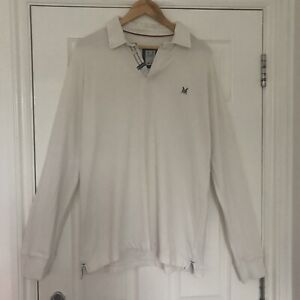 MENS CREW 'OFF WHITE' RUGBY TOP - SIZE LARGE
