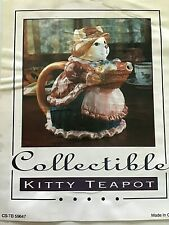 "Cisco Torrance Teapot Collectible ""Cat with Fish in Basket"" New In Box!"