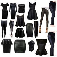 Hot Ladies Womens PU Leather Wet Look Pencil Skirt Bodycon Dress PVC Top Legging