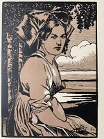 Charles Spindler Gravure Sur Bois Woodcut Art Deco Femme Alsacienne Costume