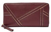 FOSSIL Caroline Zip Around Wallet RFID Geldbörse Cabernet Rot Neu