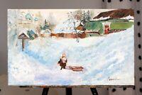 Winter Snow Sunny Day Original Oil painting 20 x 12 inch still life 50 x 30 cm