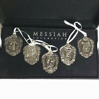 Box Set Of 5 Messiah Collection Silver Plated Christmas Ornaments Medallions